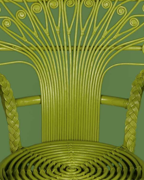Rattan peacock chair in lime green detail shot