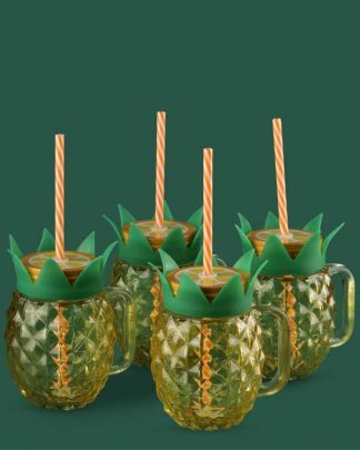 Mason glass with straw shaped like a pineapple set of 4
