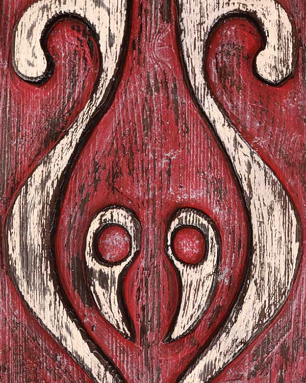 Hand carved Papa New Guinean shield detail shot
