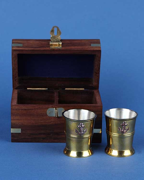 Nautical brass shot cups with anchor motif in decorative box set of 2