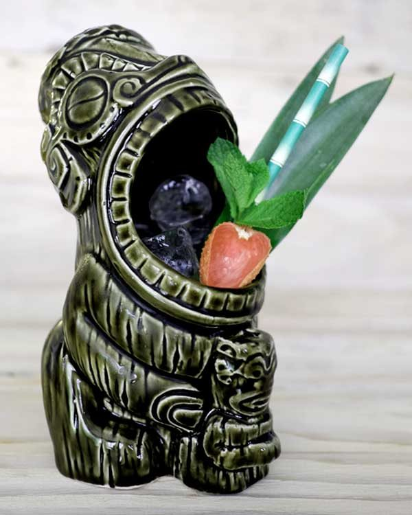 Ceramic Tiki mug cannibal styled as a drink with paper straws