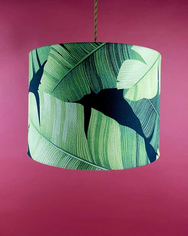 Tropical printed lamp shade pendant with botanical green leaves