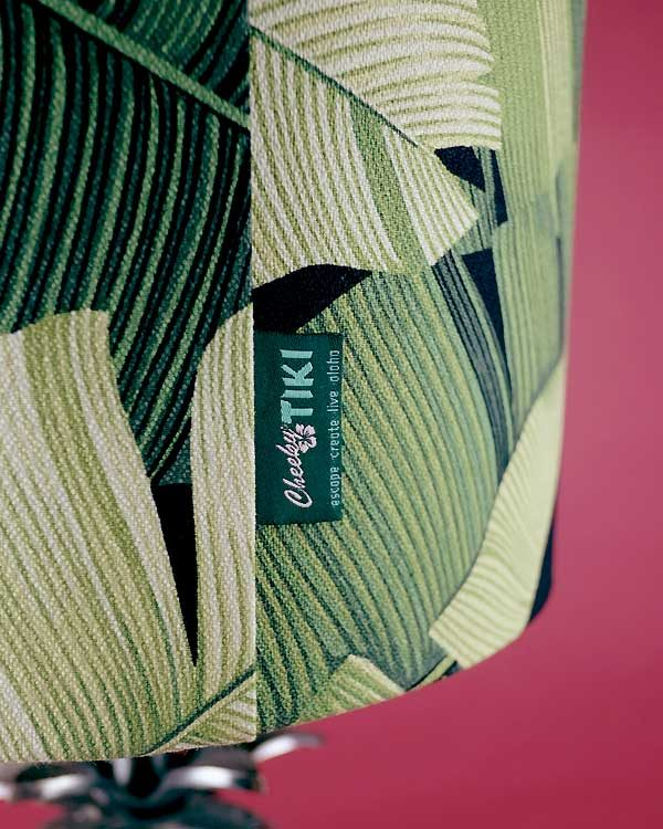 Tropical printed lamp shade drum with botanical green leaves