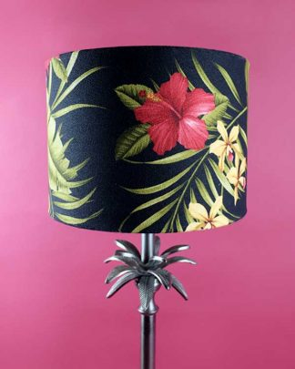 Botanical Palm Table lamp with Tropical Printed Shade - Hamakua