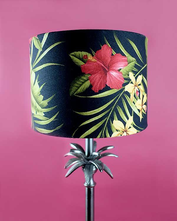 Botanical Palm Table lamp with Tropical Printed Shade - Hamakua