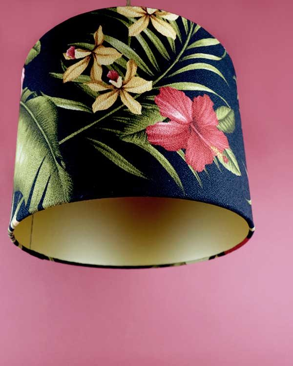 Tropical printed lampshade pendant with hibiscus flowers
