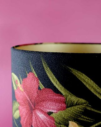 Tropical printed lampshade drum with hibiscus flowers