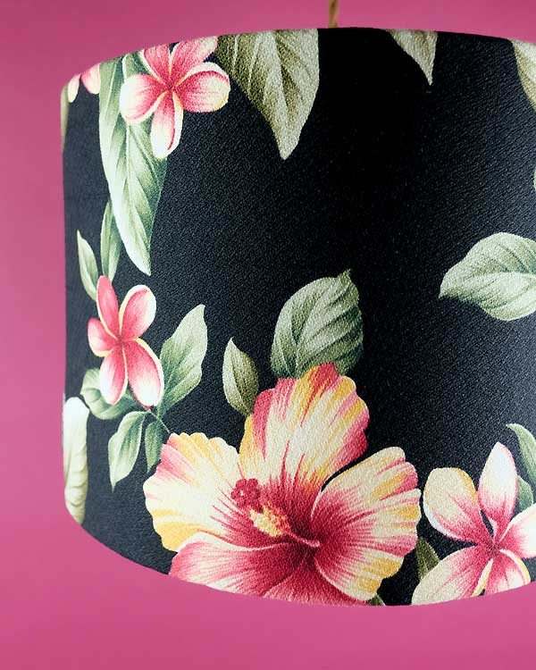 Tropical printed pendant lampshade with hibiscus flowers
