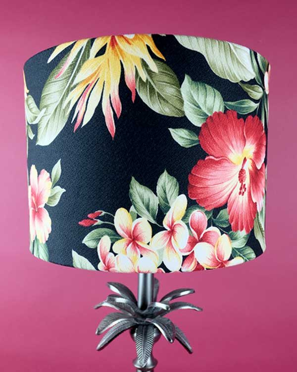 Tropical printed lamp shade drum with hibiscus flowers