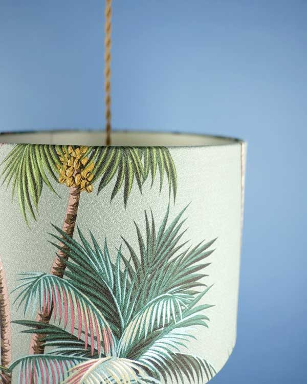 Tropical printed lampshade pendant with palm leaves