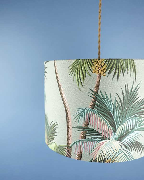 Tropical printed lampshade pendant with palm leaves drum