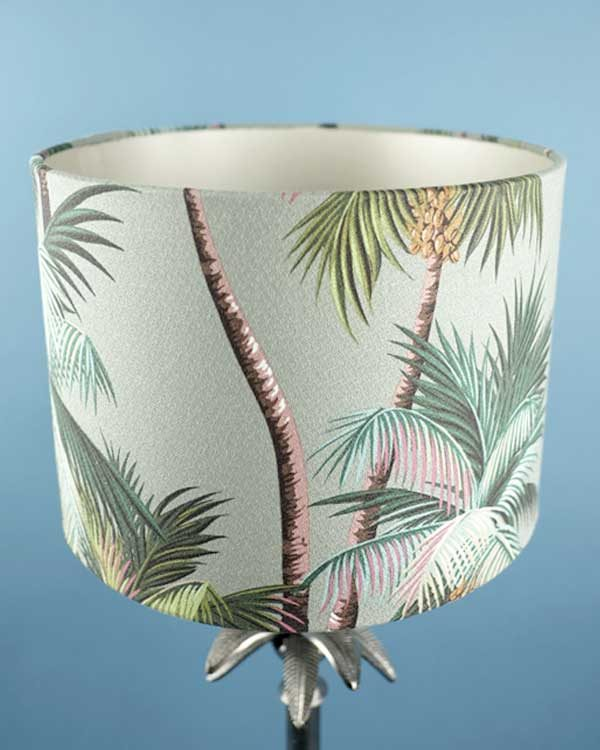 Tropical printed lampshade drum with palm leaves