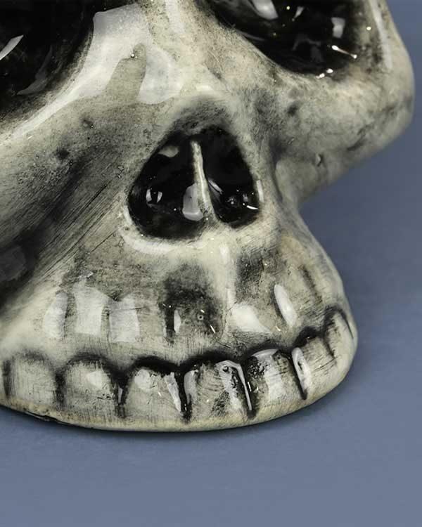 ceramic tiki mug skull in black and white