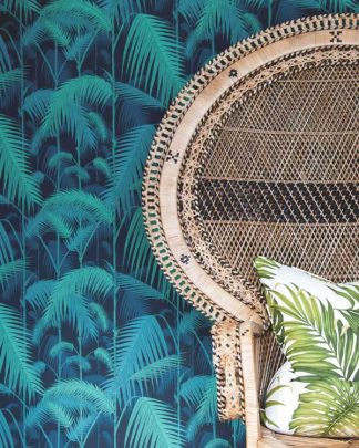 Tropical cole and son wallpaper with rattan princess chair and tropical cushion