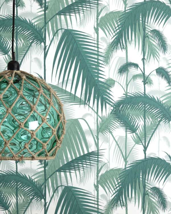Tropical cole and son wallpaper with a fish float pendant light