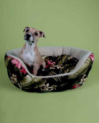Tropical printed pet bed