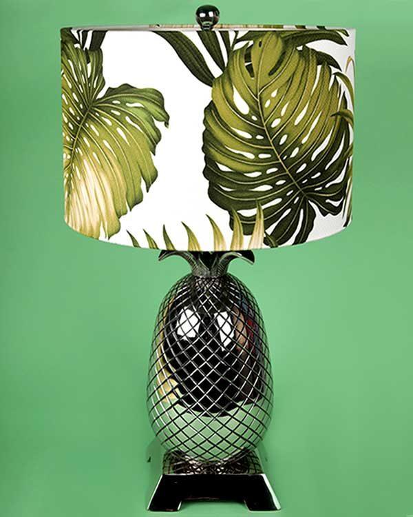 Pineapple metal lamp base with tropical printed lampshade