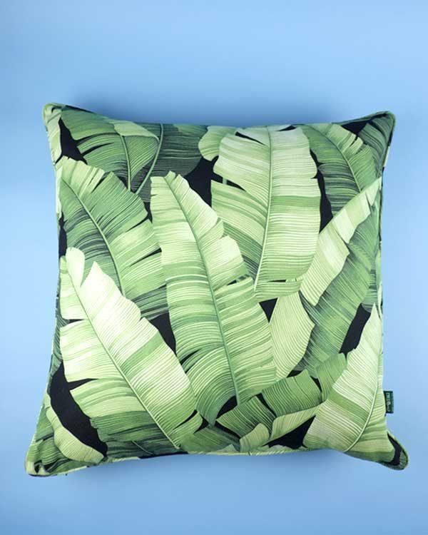 Tropical print banana leaf cushion