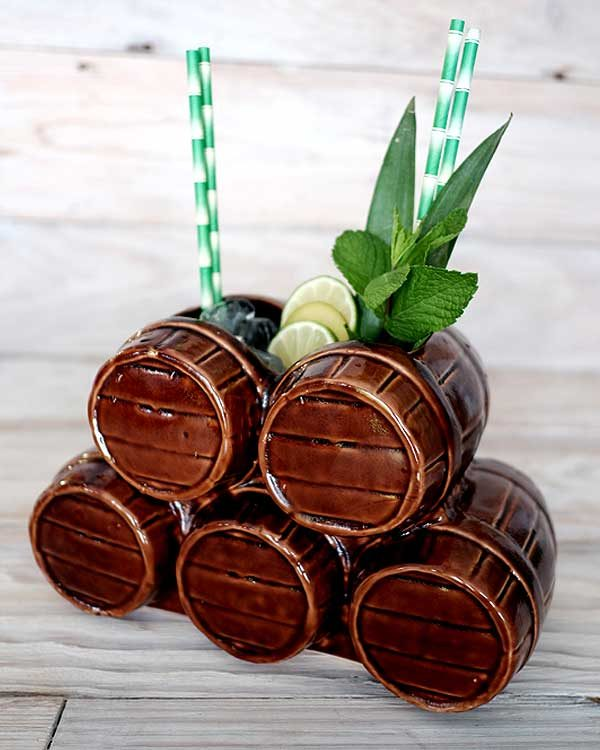 Ceramic Tiki mug sharer a stack of barrels styled as a drink with paper straws