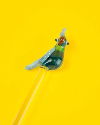 Parrot shaped glass drinks stirrer