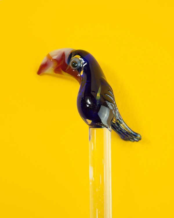 Toucan shaped glass drinks stirrer