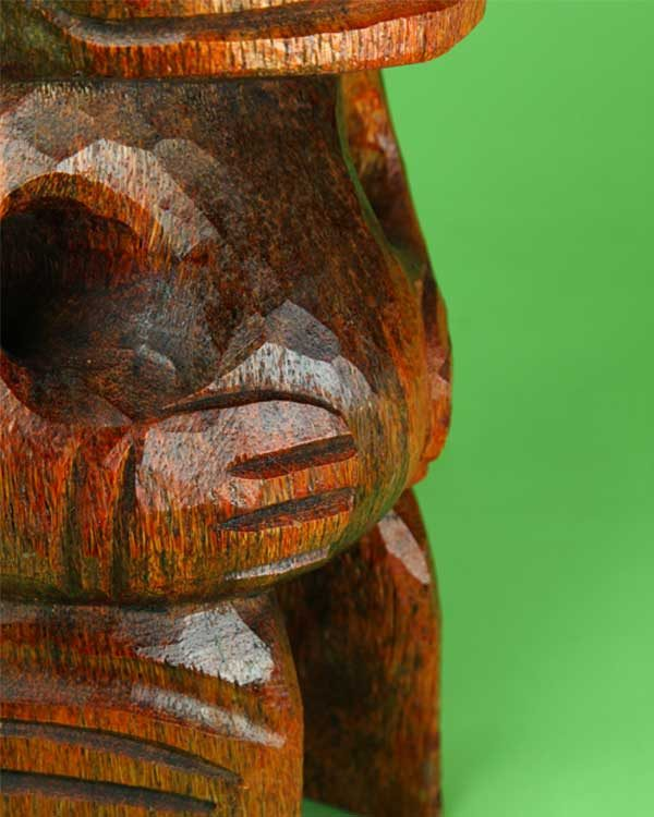 Hand carved wooden Tiki in Marquesan design