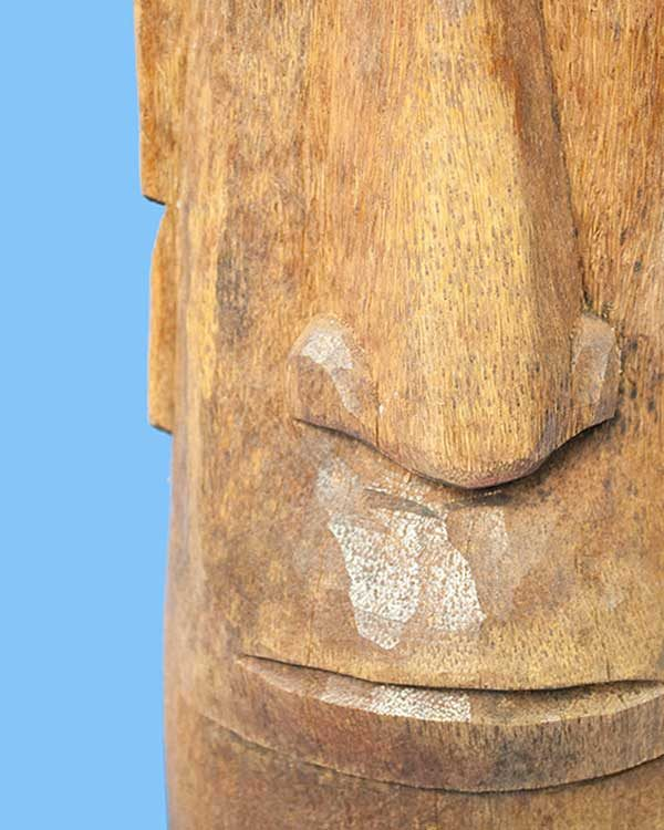 Carved wooden Moai