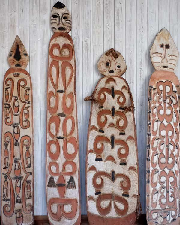 A shot of 4 replica Paupauan Gope boards.